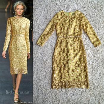 Newest Fashion 2014 Runway Dress Women's Gauze Stunning Paillette Appliques Celebrity Gold Dress
