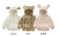 Retail 1pcs Animal model coral fleece jackets cotton Velvet good quality baby girls and boys winter coat size 80 90 95
