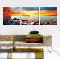 Free Shipping 3 Piece Wall Art picture printed Wall Picture such beautiful sunrise on a river scenery Home Decor Modern Picture
