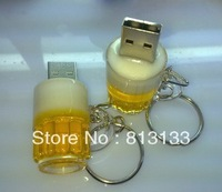 Retail genuine 4G/8G/16G/32G key chain draft beer cup shape pen drive usb flash drives memory stick u disk Drop Free shipping