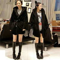 Fashion boutique women's 2013 winter wadded jacket berber fleece thickening large fur collar overcoat trench outerwear belt