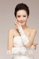 Wedding dress white rice red long design lace bridal gloves married lucy refers to beading wedding dress gloves