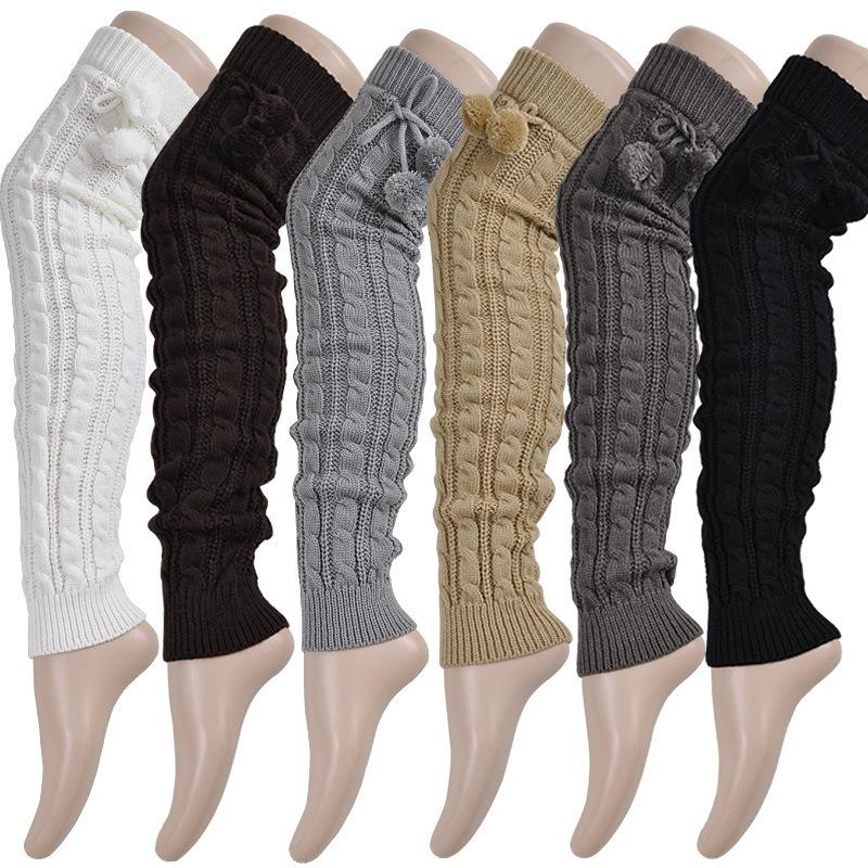 Yarn loose leg warmers twisted ankle sock booties leg cover boot socks
