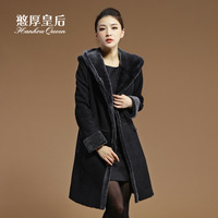 Queen 2013 fur one piece berber fleece with a hood long design slim fur coat female