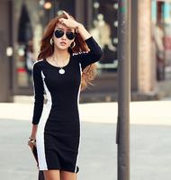 new fashion spring autumn cotton blend black long sleeve plus size women casual vestidos tights dress basic dresses 2014