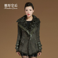 Queen 2013 fur one piece outerwear female berber fleece sheepskin genuine leather women's slim