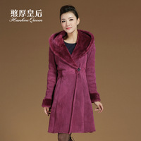 Queen 2013 fur one piece outerwear female berber fleece long design with a slim fur hood