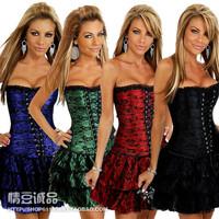 Fashion sexy lace straps royal shapewear vest short skirt body shaping underwear