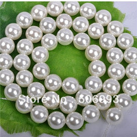 6mm,8mm,10mm,12mm DIY Jewellry Making White Round Pearl Beads , Natural Shell Pearl Beads Strand 66pcs/lot HC287