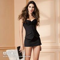 Sexy female secretary stripe ol career set no shoulder tape corset vest underwear shaper party