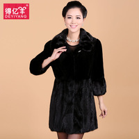 Sheep 2013 fur coat rex rabbit hair female medium-long mink 6272