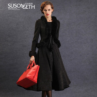 2013 autumn and winter dresses medium-long fur collar twinset woolen long-sleeve dress lyq-273