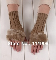 New Arrival imitation cony hair knitted mitten lady half fingerless gloves in spring winter for keep warm typing mitt series.