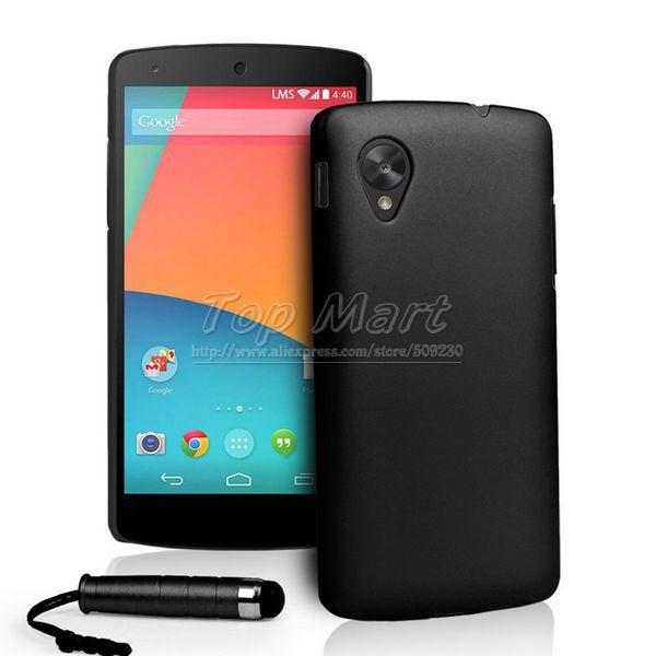 Híbrido emborrachado plástico rígido caso para o Google Nexus 5 LG E980 tampa traseira protetor da pele + free stylus(China (Mainland))
