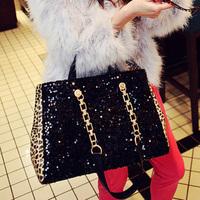 2013 female bags paillette big bag leopard print vintage bag brief chain one shoulder handbag