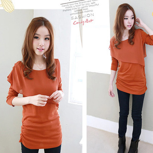 2013 spring and autumn plus size sweet slim juniors clothing chiffon clothes medium-long basic long-sleeve T-shirt