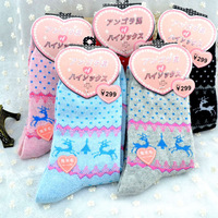 Han edition hot sell women's socks cartoon pattern warm add thick rabbit wool socks