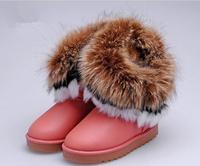 2015 new Children's Kids snow boots big fox fur tassels Girls high to help  cotton-padded shoes winter boots 096