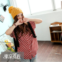 Clothing 2013 women's new arrival dot pocket cotton top 2018826