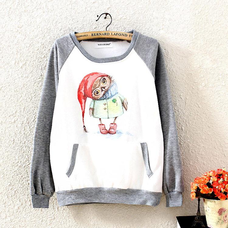 2015 Brand New Fasion Women Cartoon Owl Long Sleeve Pocket Grey Pullovers Sweatshirt Hoodies Tops Outerwear Hoody Free Shipping(China (Mainland))