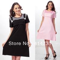 2014 Summer New Fashion Maternity Clothes Breastfeeding Sleepwear Motherhood Short Sleeve Knee Length Dresses for Pragnant Women