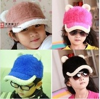 Free shipping in 2013, the latest children rabbit hair baseball cap han edition winter hats