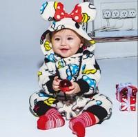Retail Autumn Winter 2014 baby wear boys romper babys Mickey Christmas style romper print Mickey newborn rompers