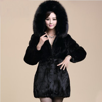 2013 women's mink fur fox with a hood fur coat medium-long overcoat faux