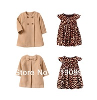 6sets/lot new 2013 baby girls autumn-winter 2pcs/set clothing set overcoat+dress leopard print suit children's clothes suits