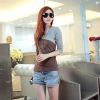 Free shipping 2013 autumn plus size clothing slim all-match vintage long-sleeve t-shirt basic shirt