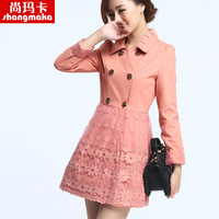 Ka 2013 autumn lace slim trench elegant double breasted outerwear female plus size