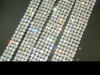 free shipment 4mm 2 row/3-row/4-row/5-row/6-row crystal rhinestone trims close silver  chain Cake Ribbon Trim ss16 x1 yard