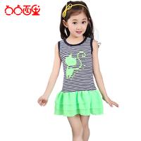 summer big clothing female child the cat neon tank dress one-piece dress princess dress