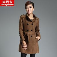 Ka 2013 autumn and winter new arrival woolen outerwear wool coat tiebelt Women plus size