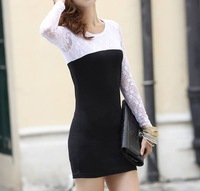 Slim was thin base skirt package hip skirt lace spell color long-sleeved dress