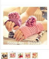 New Arrival double color knitted mitten as promotion gift lady half fingerless gloves spring winter keep warm typing mitt series