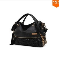 Ladies fashion bags 2013 qualtiy!Crazy Sales Casual All-match Leopard Print Paillette Bag Women's Handbag Shoulder Message Bags