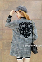 2013 autumn and winter fashion women's street woolen plaid embroidery tiger head cardigan slim outerwear