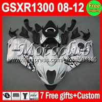 7gifts+NEW For SUZUKI Hayabusa White silver GSXR 1300 GSX-R1300 GSX R1300 1550 GSXR 1300  08 09 10 11 12 HOT Fairing