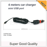 Hig quality ultra long four meters car charger power cord length 4 meters mini USB port  for DVR/GPS etc