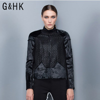 Ghk horsehair sheep genuine leather women outerwear clothing knitted fashion brief g3052