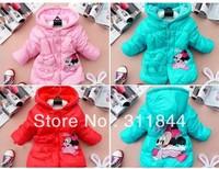 Free shipping Retail 100% cotton Girls Cartoon Minnie design thick Outwear (1PCS/lot) Children's coat