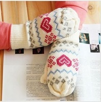 2013 Best Christmas Gifts Cute love  Warm  Winter gloves double layer thermal plus velvet thickening knitted gloves for Women