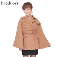 2014 Women Coat Dress Long Turn-down Collar Shipping British Style Cashmere Wool Cloak Loose Lacing Outerwear Coat Hm2 6 Full