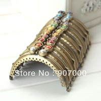 8.5cm/3.3 inches bronze metal sew-on purse frame DIY bag parts accessories with rhinestone clasp 11pcs