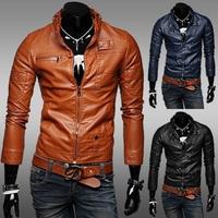 new 2014 Men's Zipper UP Standing Collar motorcycle jacket men PU leather jacket men Winter Coat leather coat men