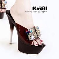 2014  New arrival kvoll women's shoes transparent resin diamond bow platform ultra high heels slippers