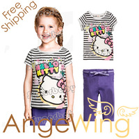 Girls 2014 Fashion New Clothes Cartoon Hello Kitty Stripe T-shirt+ Pants 2PC Clothing Suit Free Shipping