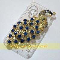 1 Pcs Handmade Bling Diamond Peacock Clear Transparent Hard Back Case Cover For LG Optimus L5 II Dual  E455