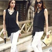 2014 New Women Long Chiffon Blouses V-neck Asymmetrical T shirt Sleeveless Black Tees Casual Blouse Spring Novelty Tank Tops
